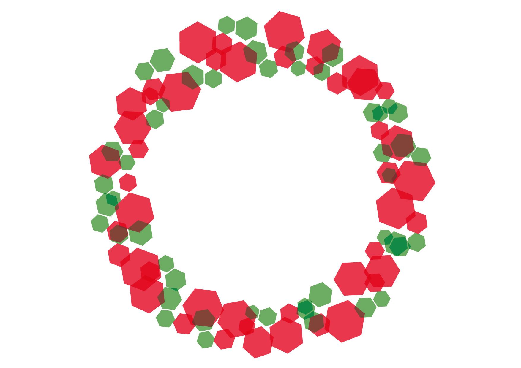 六角形 キラキラ フレーム クリスマスカラー イラスト 無料