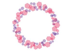 六角形モチーフ フレーム ピンク イラスト 無料
