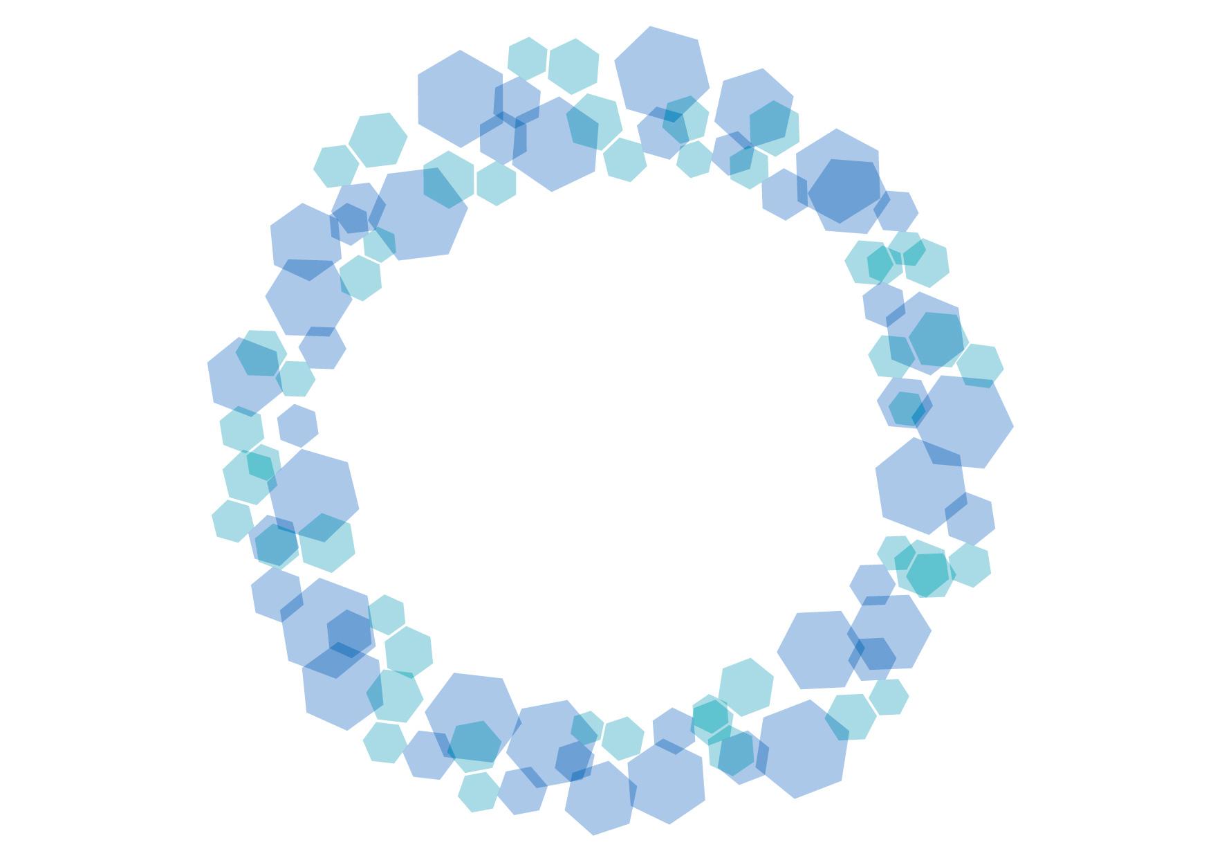 可愛いイラスト無料|六角形 キラキラ フレーム 水色 − free illustration Hexagonal glitter frame light blue