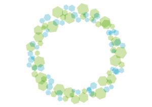 六角形モチーフ フレーム 緑色 イラスト 無料