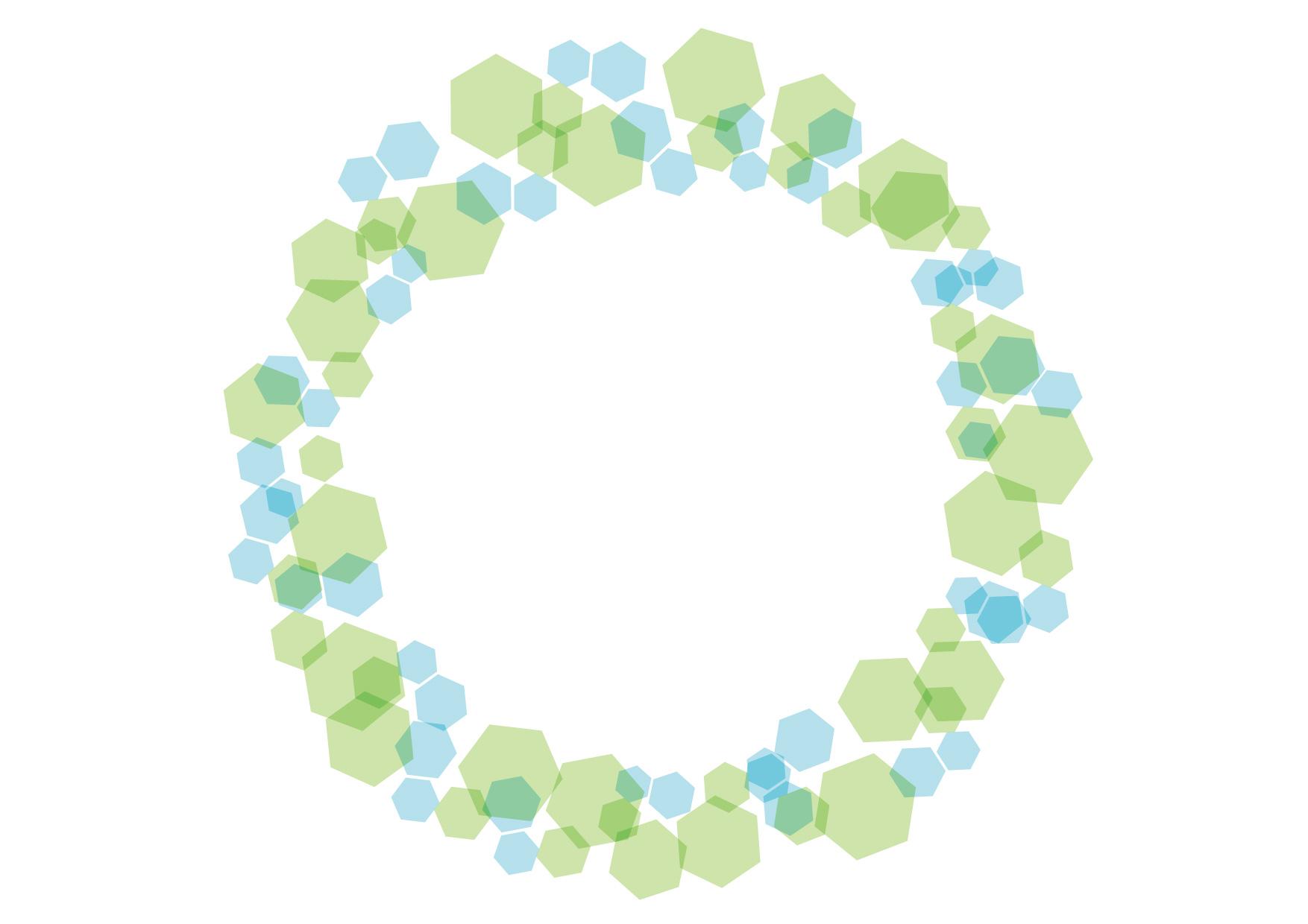 可愛いイラスト無料|六角形 キラキラ フレーム 緑色 − free illustration Hexagonal glitter frame green