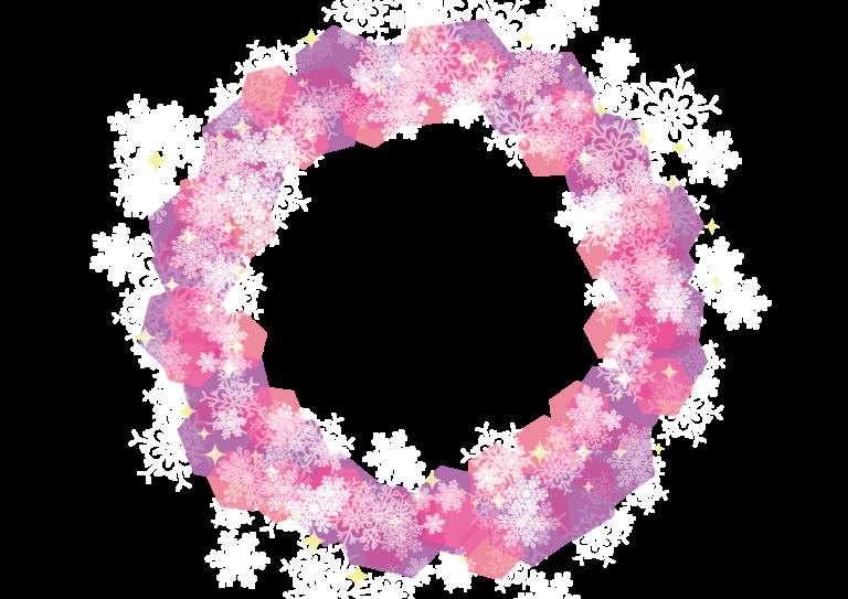 雪の結晶 背景 フレーム ピンク イラスト 無料