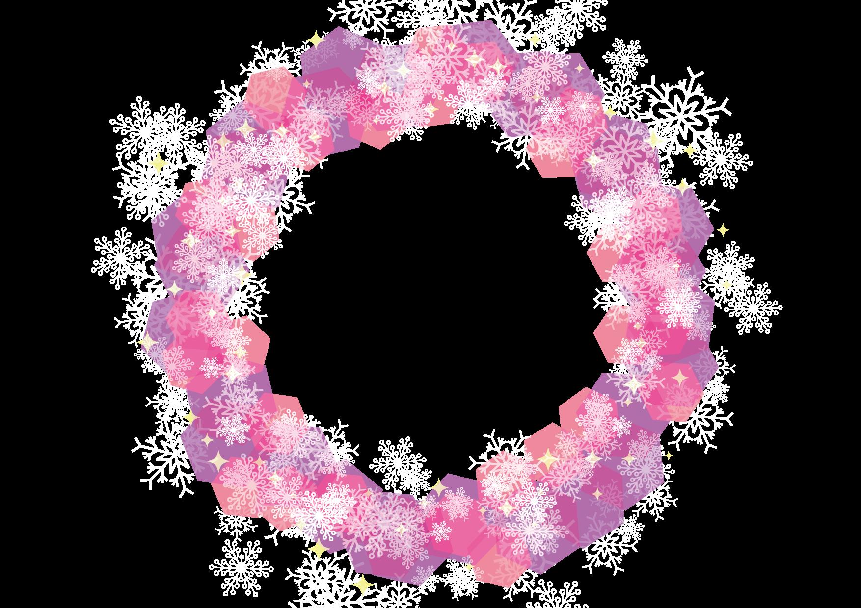 可愛いイラスト無料|雪の結晶 フレーム 背景 ピンク − free illustration Snowflakes frame background pink