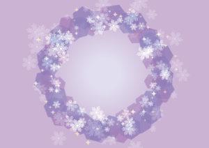 雪の結晶 背景 フレーム 紫色 イラスト 無料