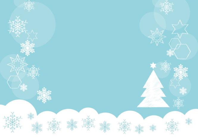 雪の結晶 クリスマスツリー 青色 背景 イラスト 無料