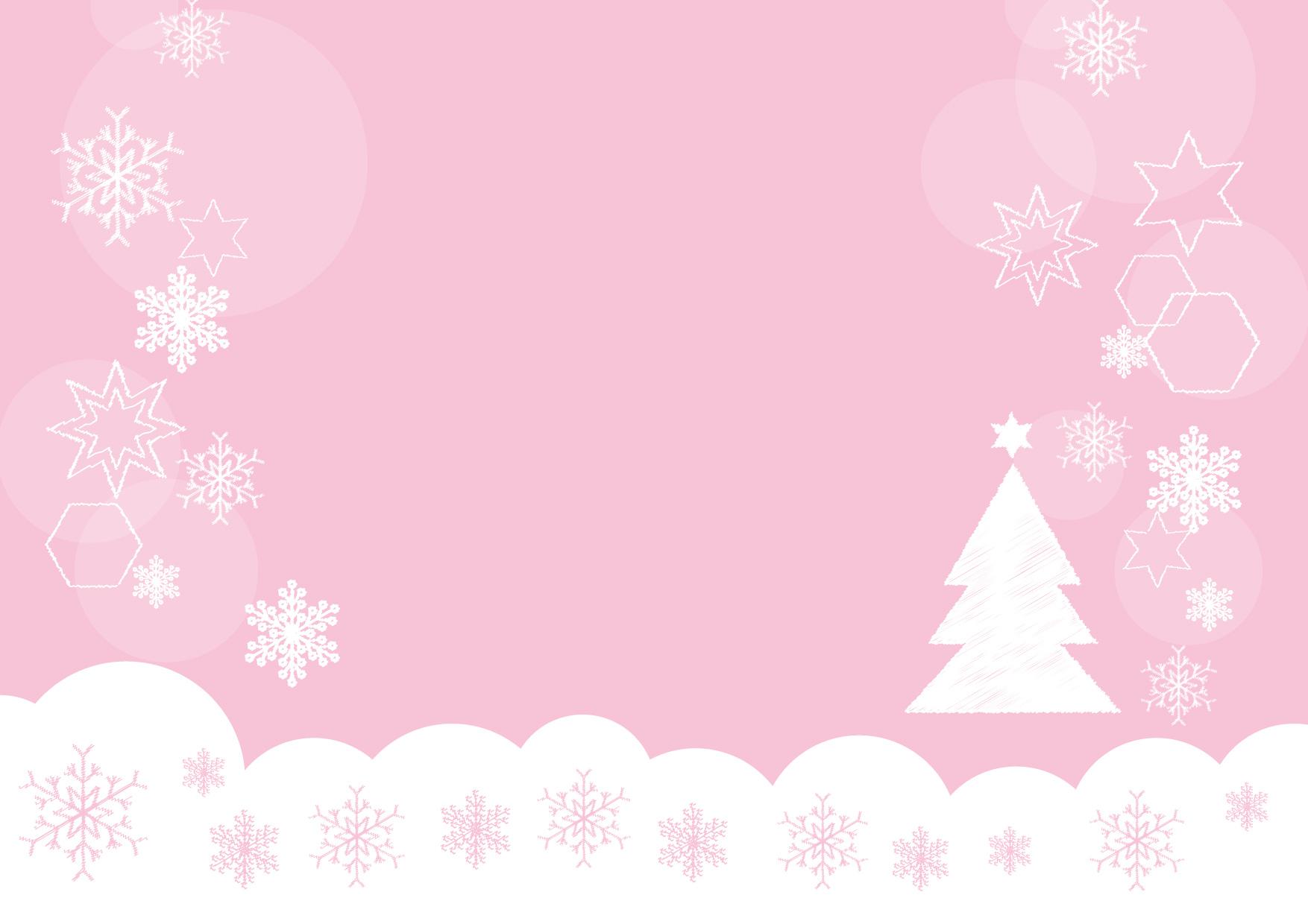 可愛いイラスト無料|雪の結晶 クリスマスツリー ピンク − free illustration Snowflakes Christmas tree pink