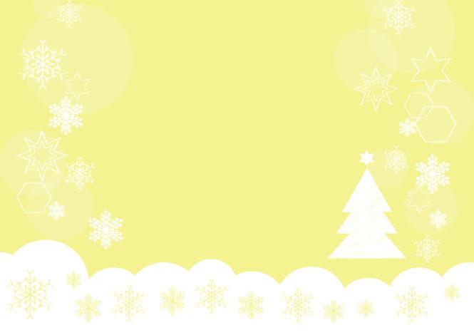 雪の結晶 クリスマスツリー 黄色 背景 イラスト 無料