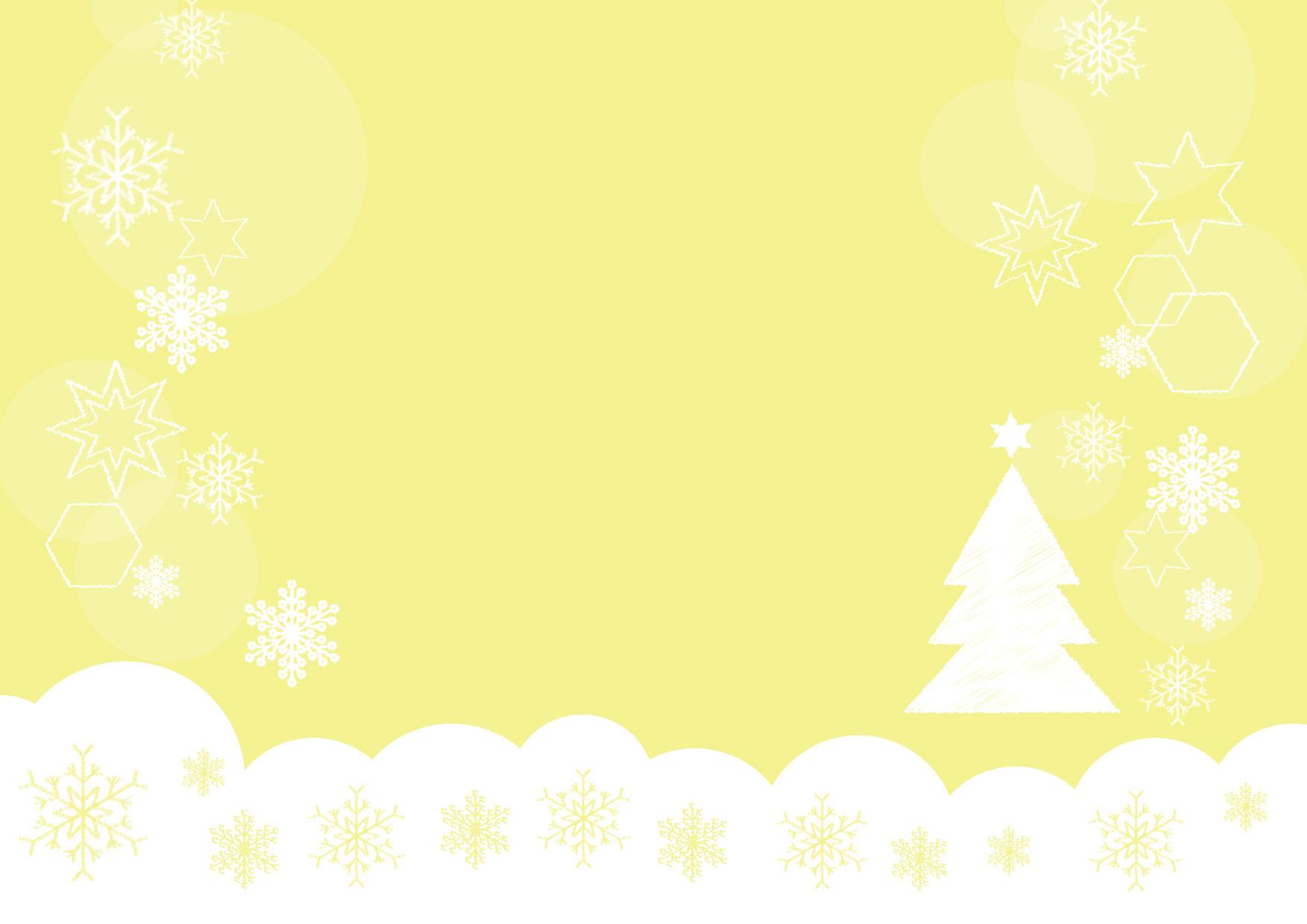 可愛いイラスト無料|雪の結晶 クリスマスツリー 黄色 背景 − free illustration Snowflakes Christmas tree yellow background