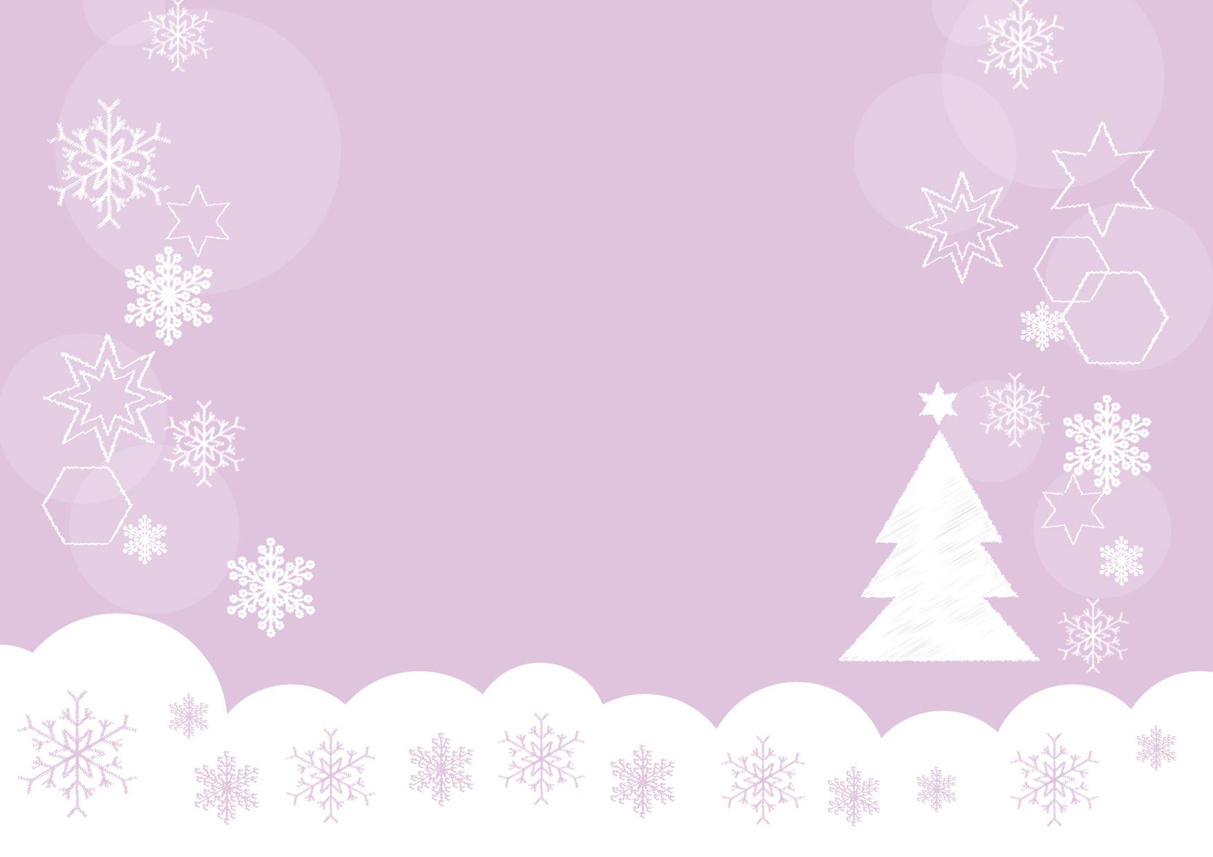 可愛いイラスト無料 雪の結晶 クリスマスツリー 紫色 背景 − free illustration Snowflakes Christmas tree purple background