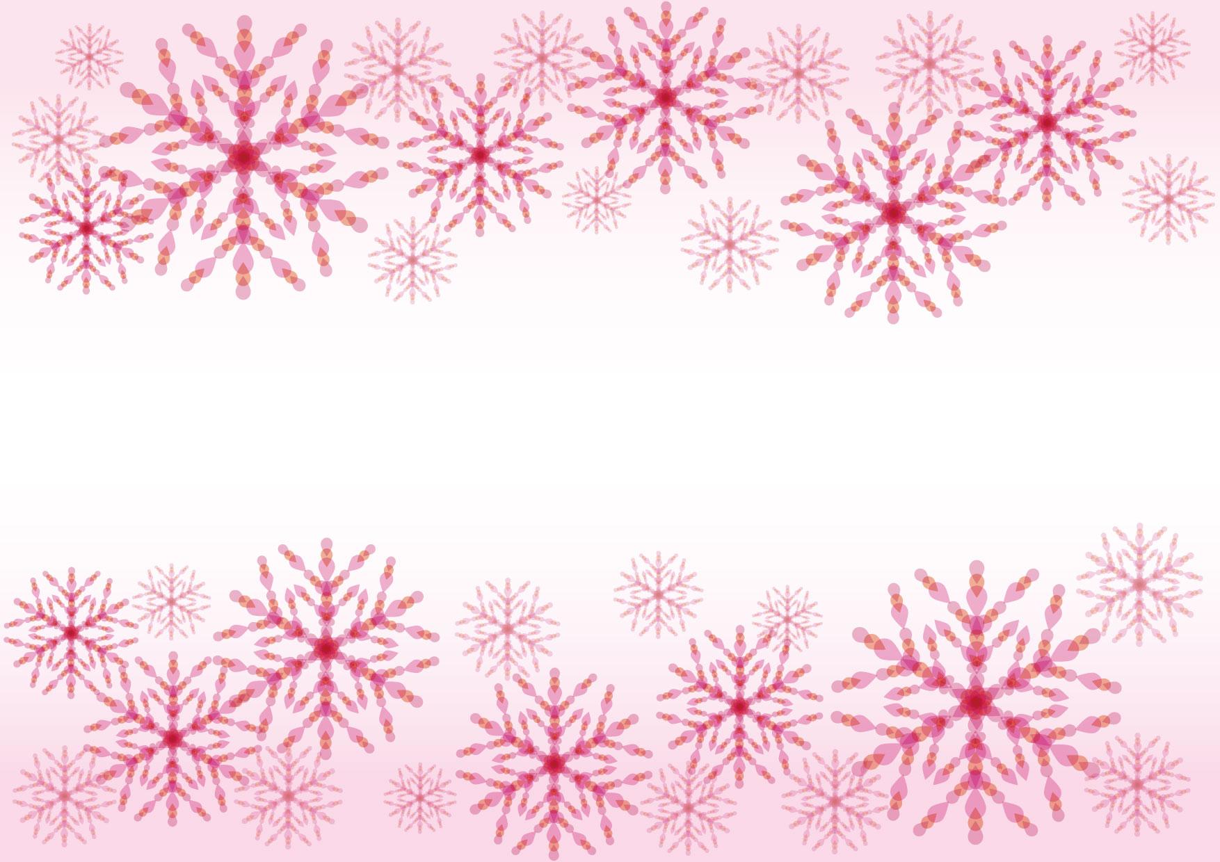 可愛いイラスト無料|雪の結晶 ピンク 背景 − free illustration Snowflakes pink background
