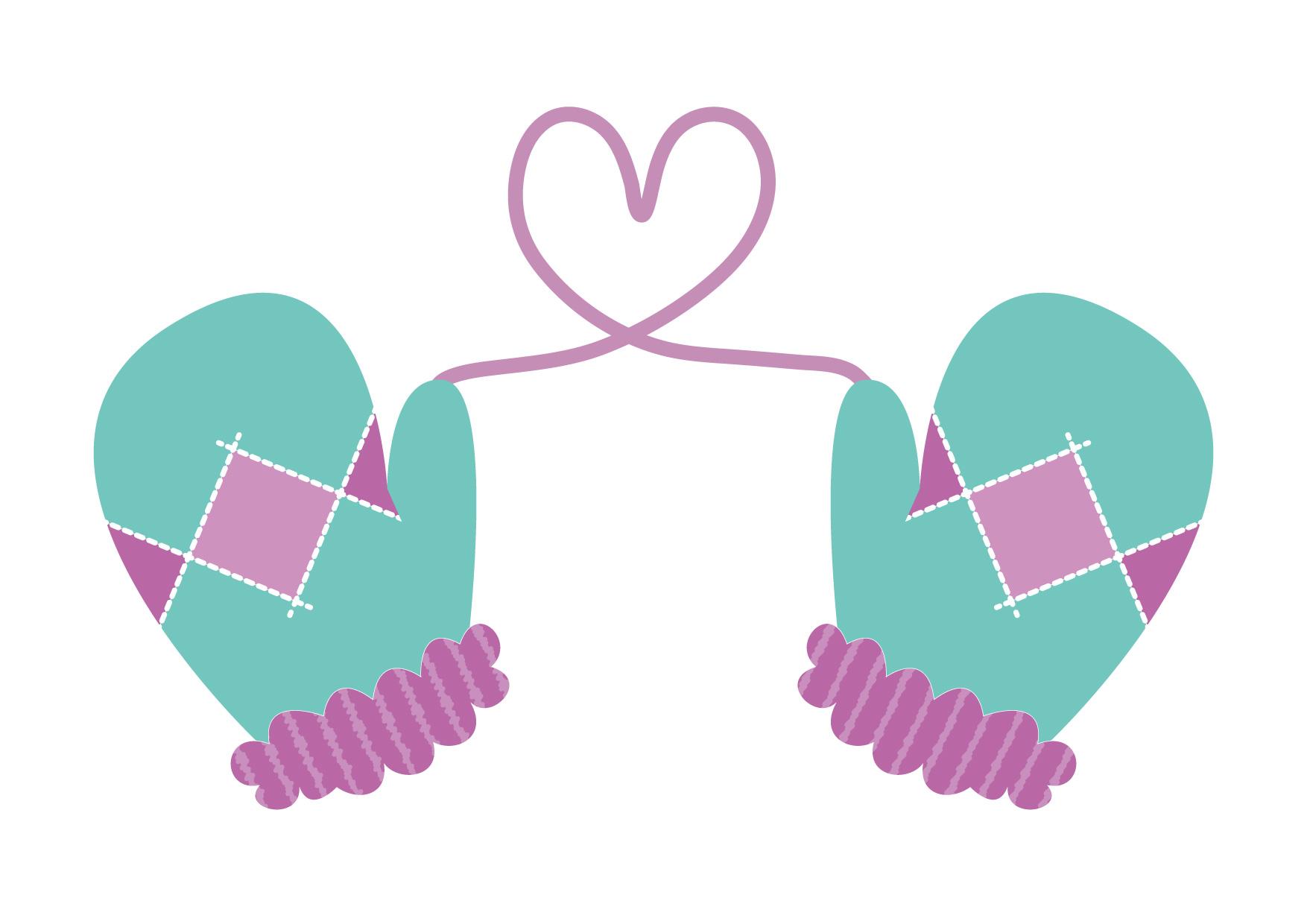 可愛いイラスト無料|手袋 ハート 青色 − free illustration Gloves heart blue