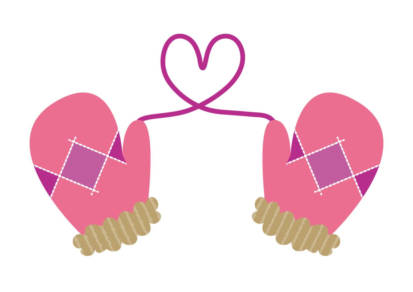 手袋 ハート ピンク イラスト 無料