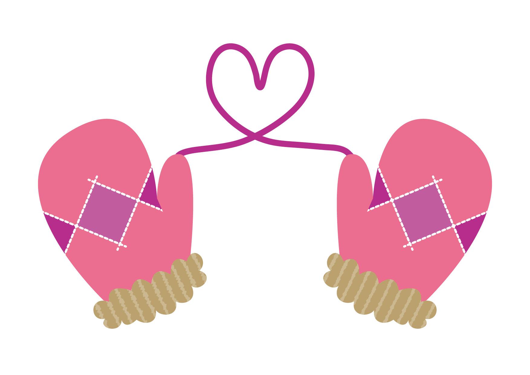 可愛いイラスト無料|手袋 ハート ピンク − free illustration Gloves Heart Pink