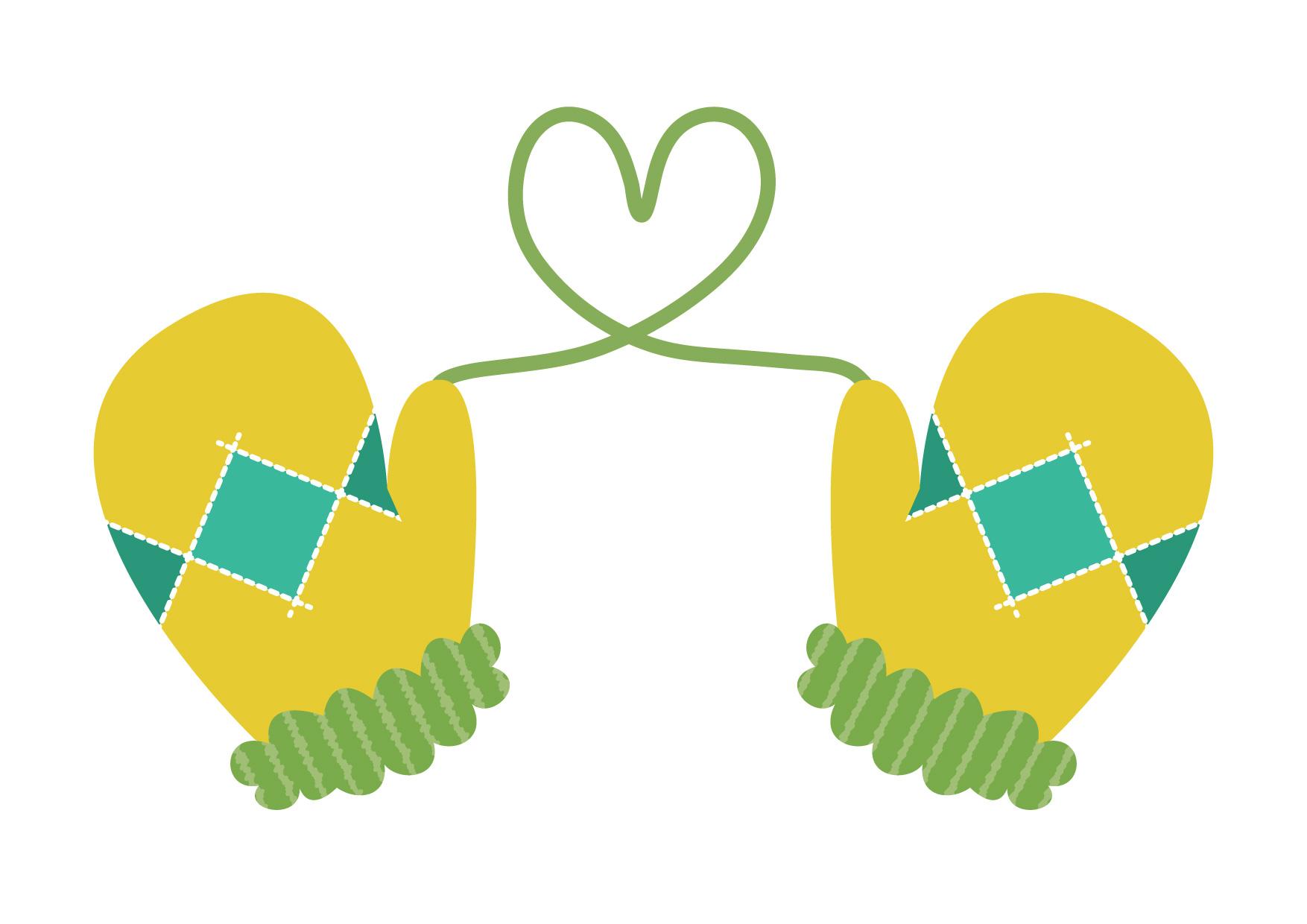 可愛いイラスト無料|手袋 ハート 黄色 − free illustration Gloves heart yellow