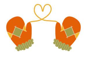 手袋 ハート オレンジ色 イラスト 無料