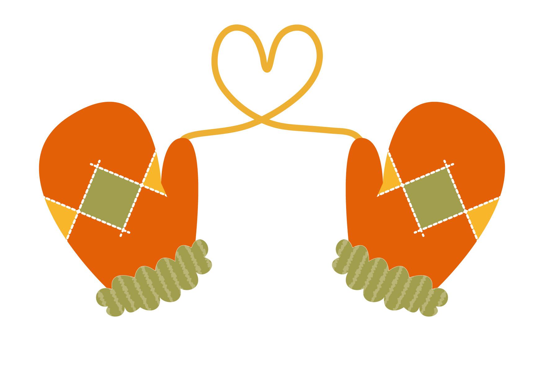 可愛いイラスト|手袋 ハート オレンジ色 − free illustration Gloves Heart Orange