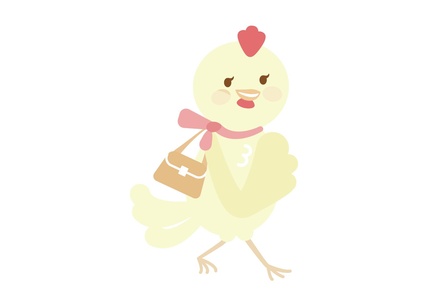 お正月 鶏 お母さん イラスト 無料