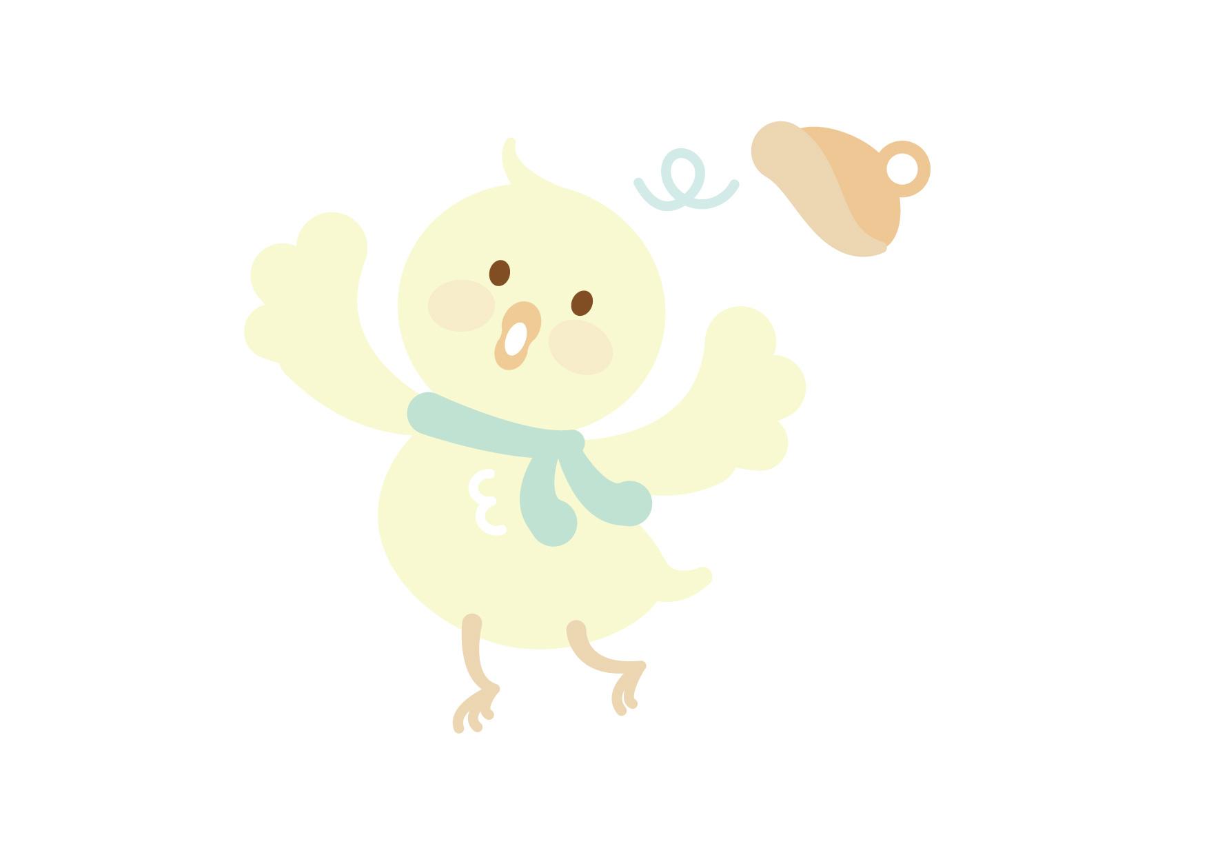 お正月 鶏 ひよこ 子供2 イラスト 無料