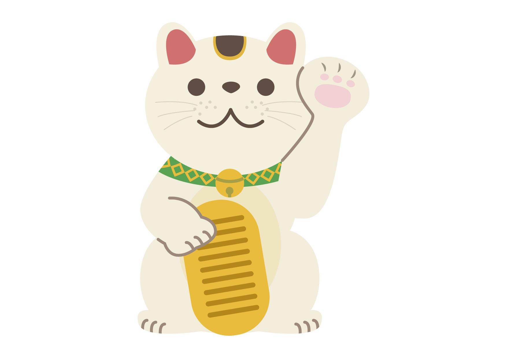 可愛いイラスト無料|招き猫 左手 − free illustration Maneki Neko left hand