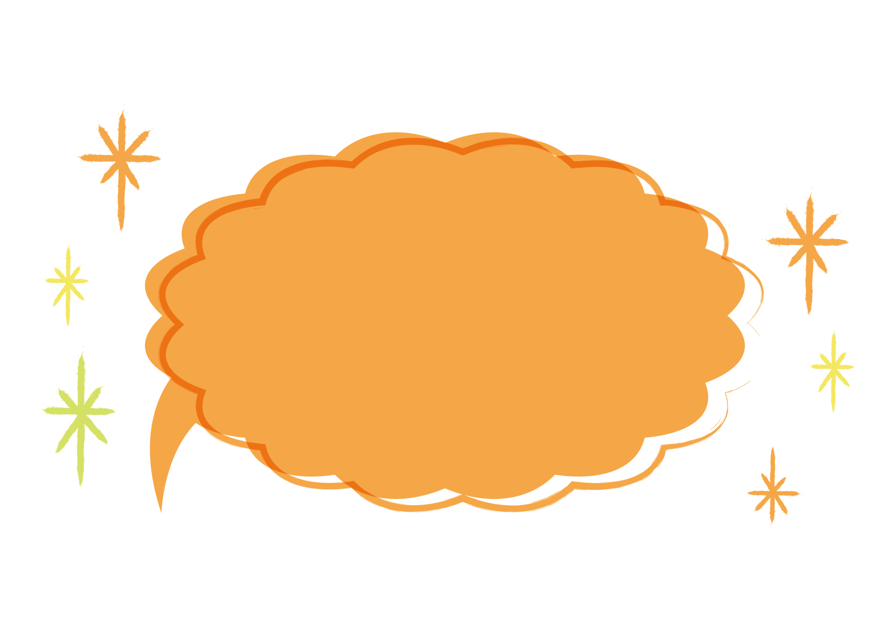 可愛いイラスト無料|吹き出し オレンジ色 背景 − free illustration Speech bubble orange background