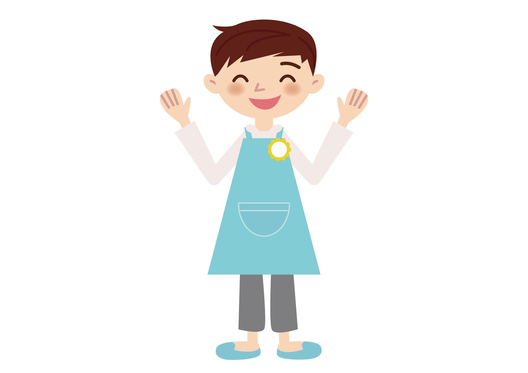 可愛いイラスト無料|保育士 男性 両手上げる ポーズ − free illustration Nursery teacher man raising both hands pose