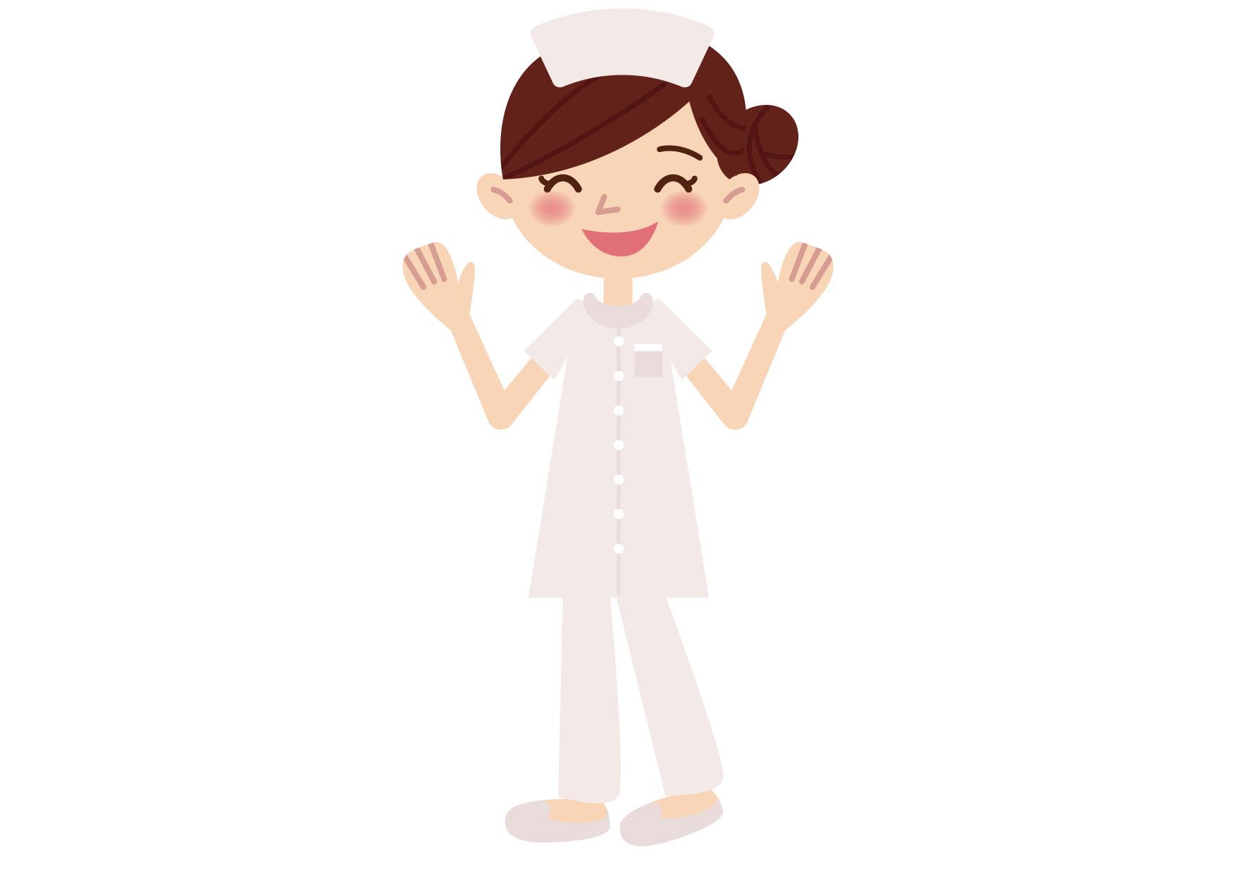 看護師 両手を挙げる イラスト 無料