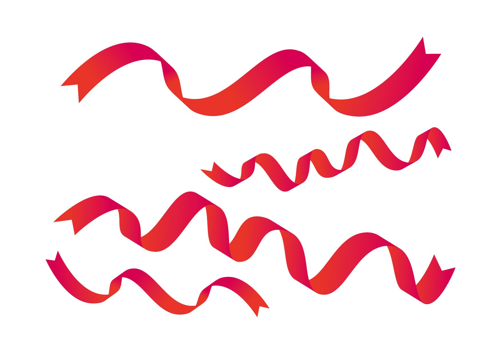 可愛いイラスト無料|リボン ひらひら 赤色 − free illustration Ribbon fluttering red