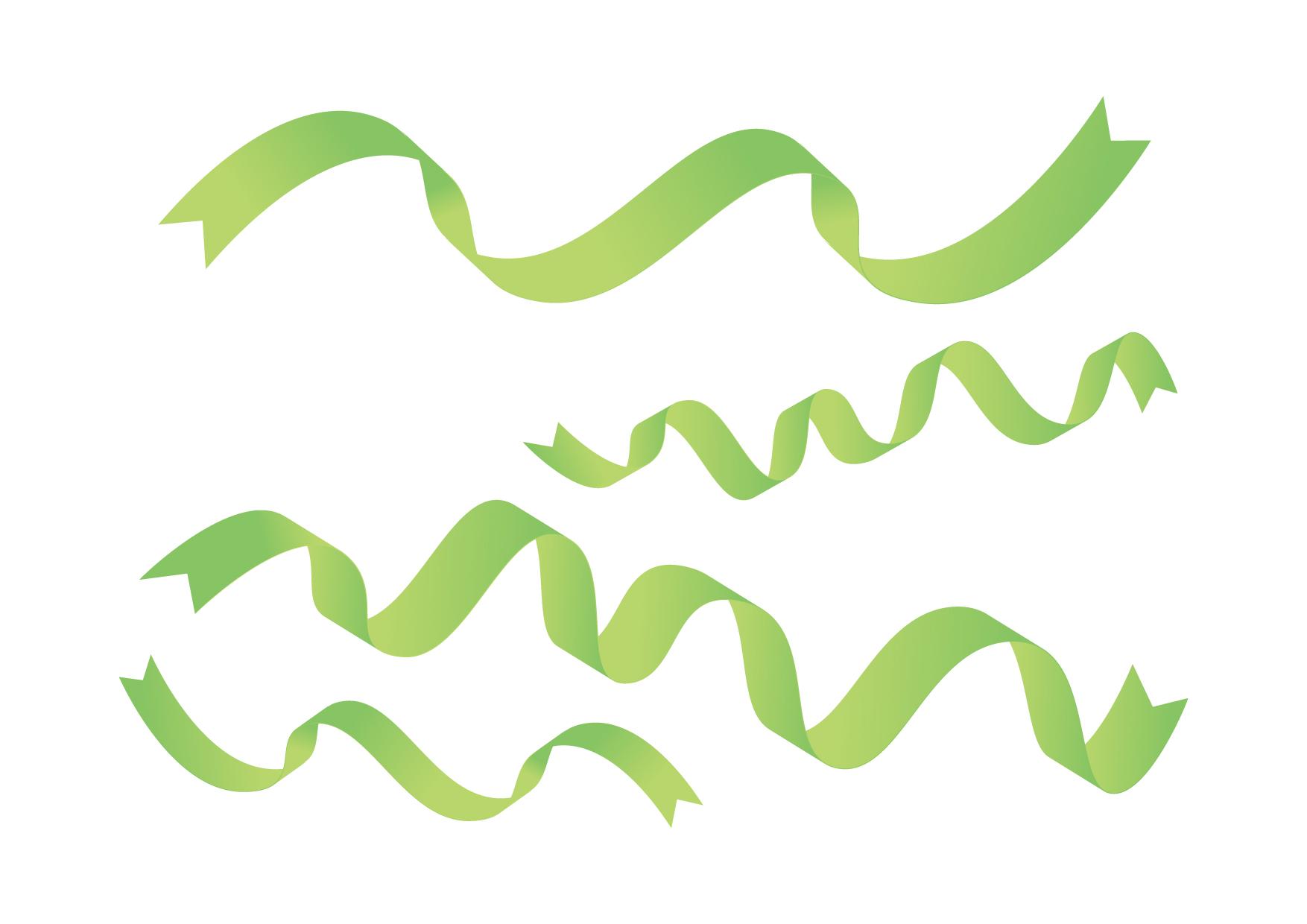 リボン ひらひら 緑色 イラスト 無料