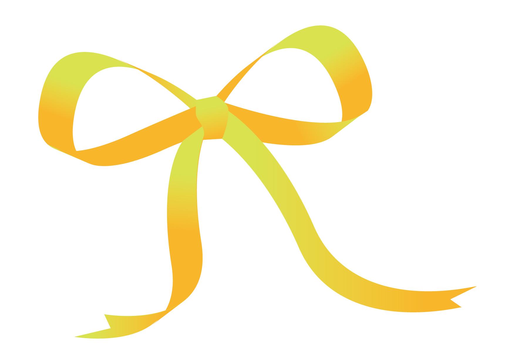 可愛いイラスト無料|リボン 黄色 − free illustration Ribbon yellow