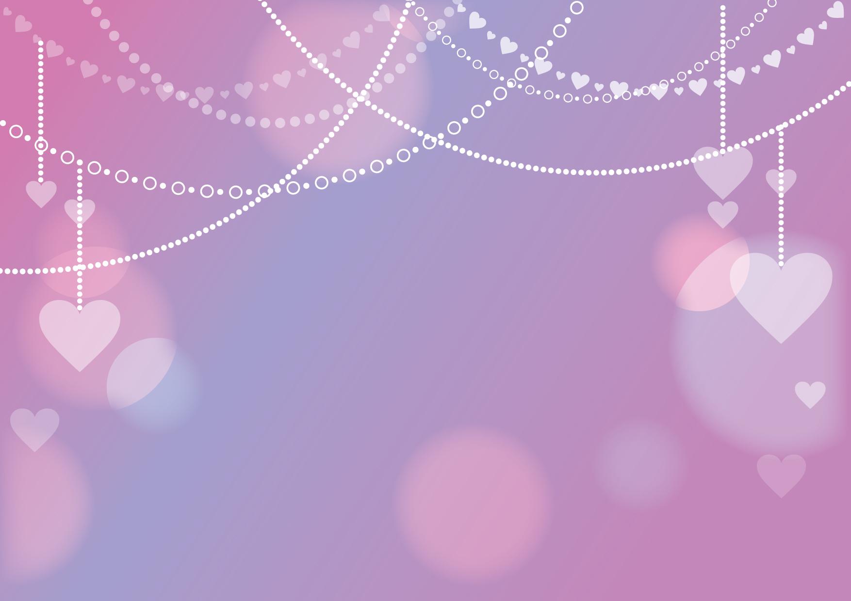 可愛いイラスト無料|ハート チェーン 背景 紫色 − free illustration Heart chain background purple